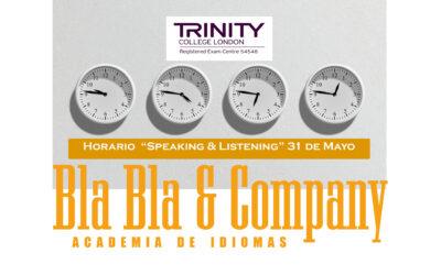 "Horario del ""Speaking & Listening"" 31 Mayo"